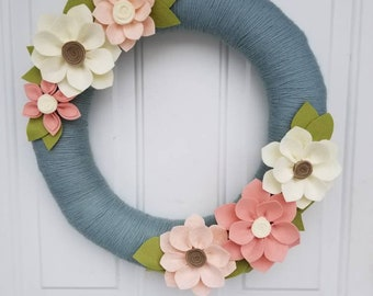 Spring wreath, summer wreath, spring decor, summer decor, wedding decor, home decor, felt wreath, felt flowers