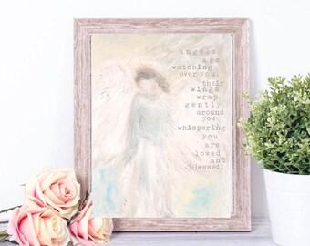 Angel Print, Guardian Angel, Nursery Decor, Nursery Wall Art, Angel Wings Wall Decor, Girls Room Decor, Girls Nursery Decor, Baby Girl Gift