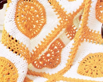 Classic 1970's Medallion Crochet Blanket Pattern, Instant Download