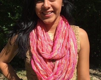 Infinity scarf,Peach,pink,cowl,neck,scarf