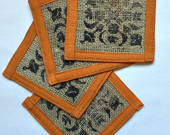 Coasters - Burlap Coasters - Block Print - Fabric coasters - Hostess gift - Housewarming Gift - Teacher Gift - Rustic