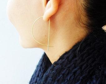 Dainty Half Moon Earrings / Hoop / Better Half Earrings / Moon Earrings / Geometric Earrings / Gold / Silver / Sterling Silver / Gold Filled