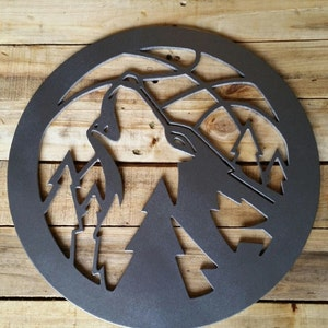Minnesota Timberwolves  Sign Man Cave Art MDF Board Cut Out Logo With Faux Metal Finish On Rustic Pallet Wood
