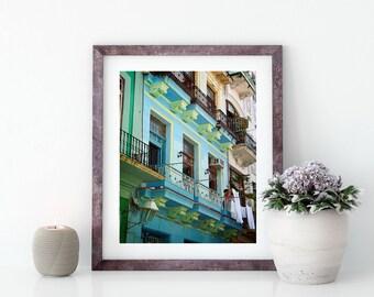 "Havana photography - Laundry photography - ""A colorful life"" - Cuba art print - Habana Vieja - Old Havana - Pastel colors - Laundry room"