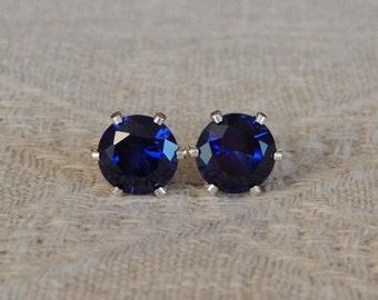 Sapphire 7mm Studs, Sapphire Sterling Silver Stud Earrings, Blue Sapphire Post Earrings, September Birthstone, Lab Created Sapphire