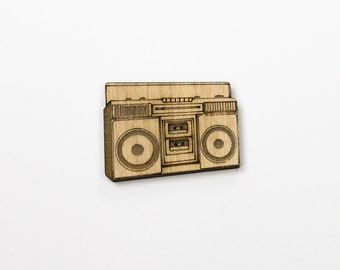 Wooden Boombox Stereo Sound System Retro Badge / Brooch