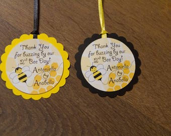 Bumble Bee Thank you tags, Personalized (set of 24)