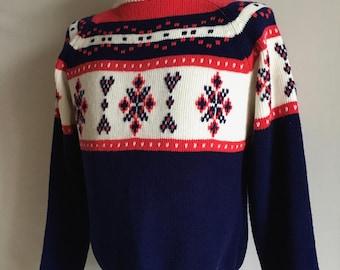 Vintage Men's 80's Ski Sweater, Snowflake, Acrylic, Long Sleeve by JC Penney (L)