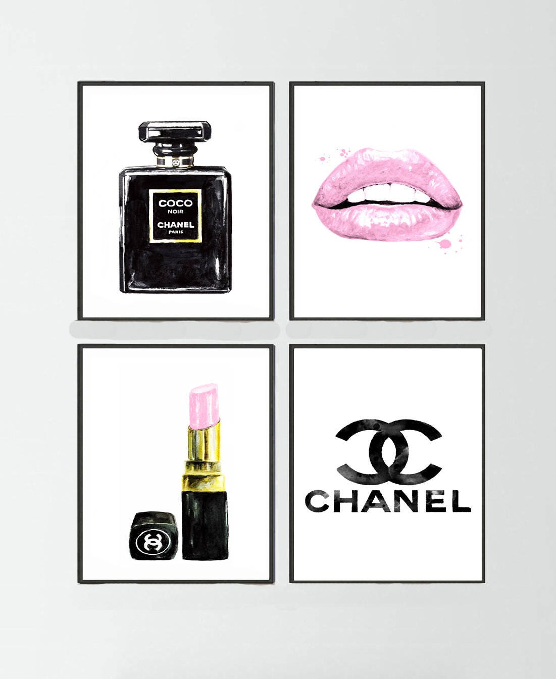 4 set coco chanel noir parfum chanel lippenstift chanel logo. Black Bedroom Furniture Sets. Home Design Ideas
