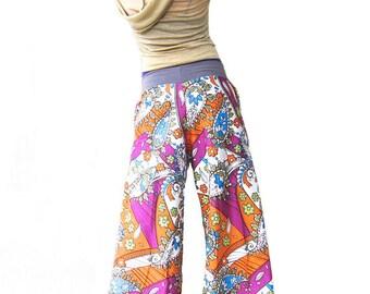 Retro Flow Pants - Vintage, OOAK, Big Pockets, Psychadelic, Wide Leg, Festival Pants, Summertime Pants