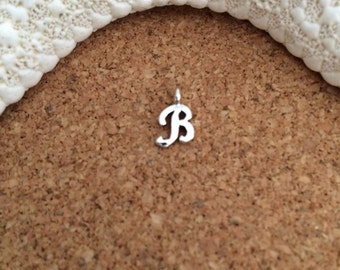 """INITIAL """"B"""" Charm - Script LETTER, Small, Sterling Silver Charm - Letter B - Alphabet - Choose with or w/o jump/split ring, Small Charm"""