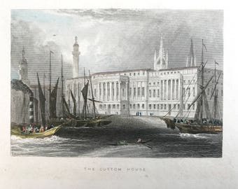 Original antique print, The Custom House, beautifully drawn and subtly hand coloured small print to frame.
