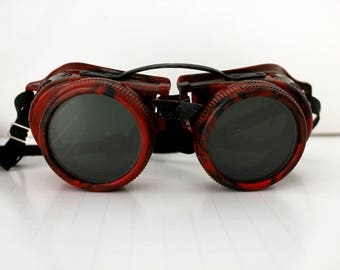 Steampunk Vintage Metal Plastic Welder Goggles, Jackson Products Welding, Red Black Cosplay Halloween