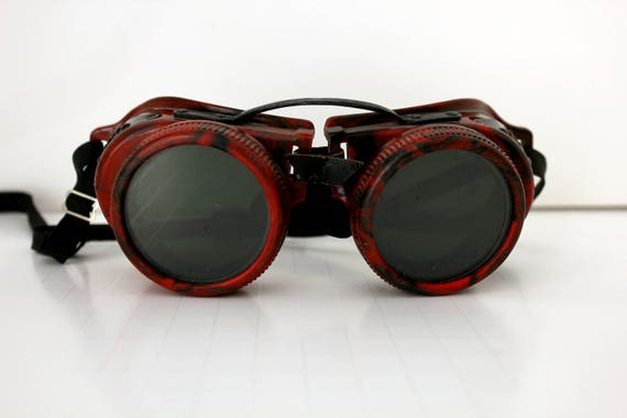 Vintage Steampunk Welder Goggles, Metal Plastic by Jackson Products, Red Black Cosplay Halloween