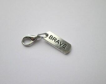 Brave word pendant charm bracelet