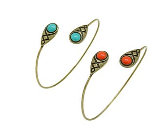 Bronze bangle bracelet with enamel: blue or orangey red ; malleable and adjustable