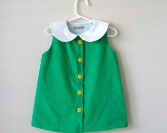 Baby toddler girls dress green jumper pinafore tunic  St Patricks day Easter dress