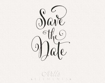 Save the Date Script - Digital Typography Photo Overlay Clip Art for Special Event, Wedding Announcements, Invitations