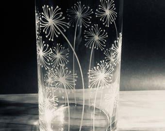 Dandelion Vase, Home Decor, Glass Art, Flower Vase, Candle, Sand Centerpiece, Make a Wish, Decorating, Display, Dandelion Art