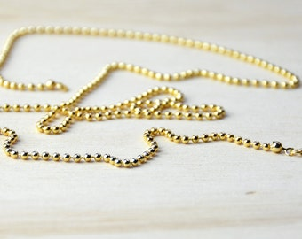 Ball Chain//yellow gold necklace//yellow gold ball chain//gold plated chain - 75cm