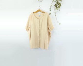 Vintage Tunic Plus Size Vintage Dolman Sleeve Top Dolman Shirt Dolman Blouse Vintage Top Blush Peach Cotton Blouse Plus Size 4X 5X 6X