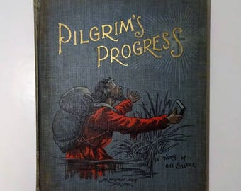 c. 1880's THE PILGRIM'S PROGRESS by John Bunyan, Color Plates, One Syllable Words, Mary Godolphin