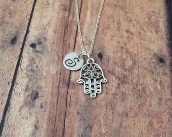 Hamsa initial necklace - Hamsa jewelry, hand of Fatima necklace, hand of Miriam necklace, khamsa necklace, silver Hamsa necklace