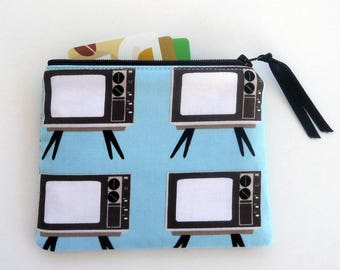 Zipper Coin Purse with Vintage TVs, ready to ship, retro best friend gift, zipper pouch, Mother's day gift, treat yourself