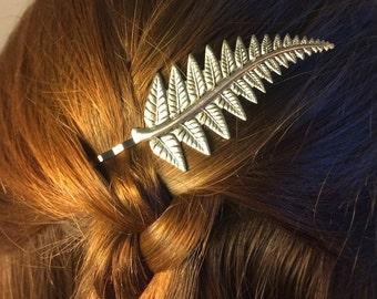 Silver Leaf bobby Pin Fern Bridal Hair Pin Bridal Hair Clip Hair Accessories Fern Woodland Wedding Bridal Hair Pin -soldered not glued!