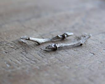 On sale today-Twig drop earrings -Silver earrings -Branch earrings -Twig jewelry -Minimal earrings -Nature earrings -Silver branch earrings