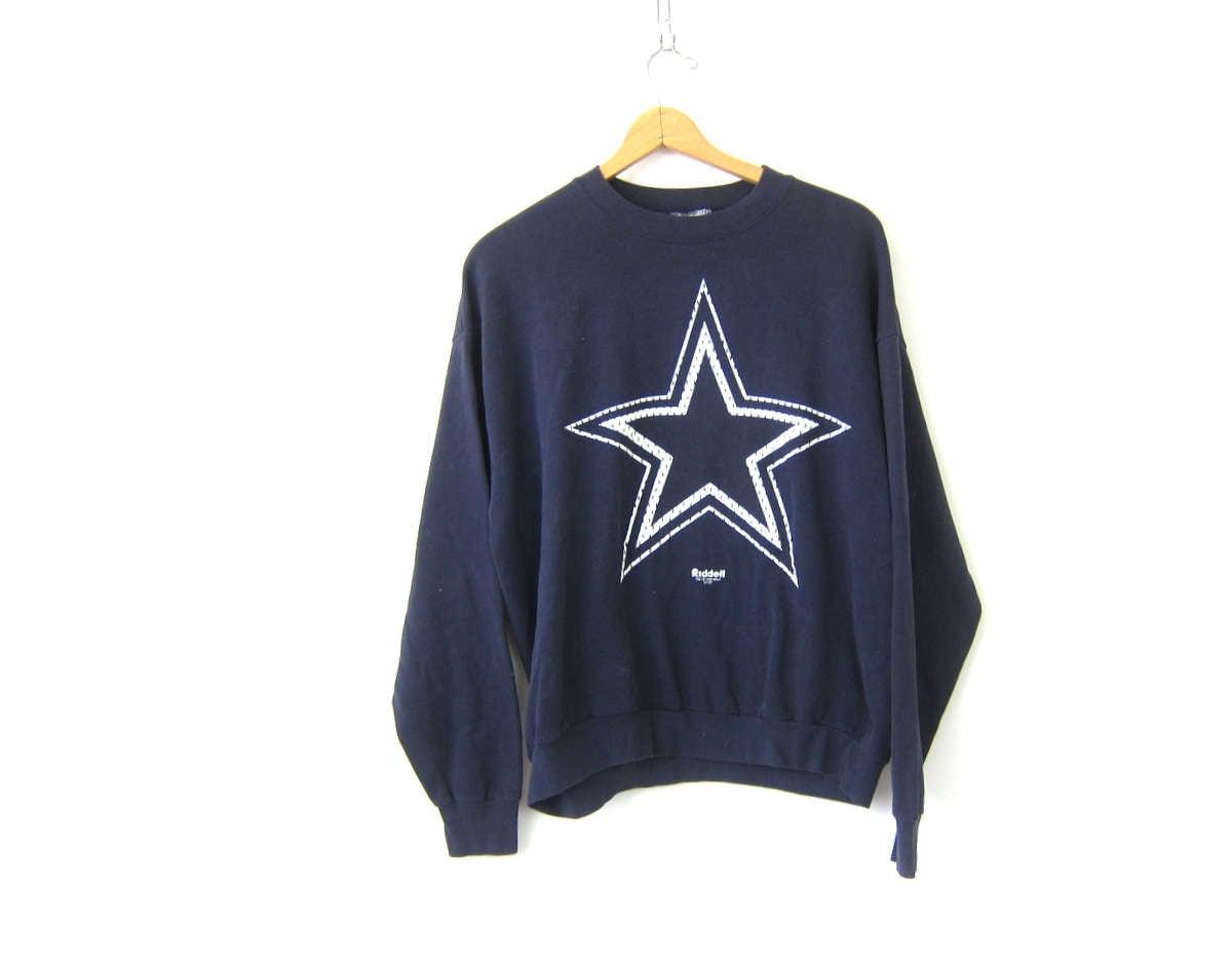 a1a70c74d Dallas Cowboys Football Sweatshirt Baggy sweatshirt Navy Blue Sporty Sweater  Activewear Athletics Thermal Shirt DES Coed Large