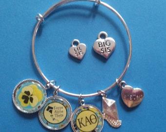Kappa Alpha Theta Charm Bracelet, Big, Lil,Sis, Lilly Inspired