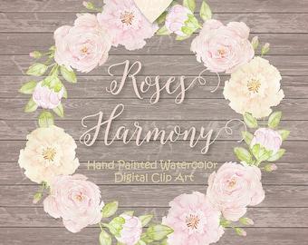 Watercolor Rose Blush clipart, watercolor flower, Leaf clipart, Wedding Clip Art, wedding invitation, watercolor wreath