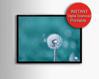 Printable Dandelion Print, Nursery Art Blue, Teal, White, 5x7 8x10 11x14 16x20 24x36 30x40 A3 A4