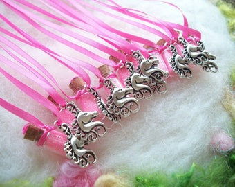 Unicorn Party Favors 10 Pink Unicorn Necklaces Unicorn Jewelry Necklace Mystical Party Memento Raffle Give Away Magical Sparkle Necklace
