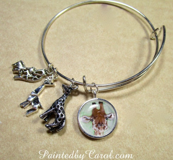 Giraffe Charm Bracelet: Giraffe Bangle Bracelet Giraffe Jewelry Giraffe Bracelet