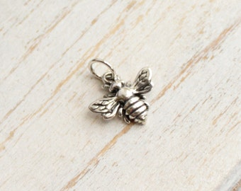 Small Sterling Silver Honey Bee Charm -- 1 Piece