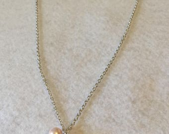 Crystal and Pink Pearl Sterling Necklace