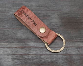 Horween Football Leather Custom Laser Engraved Full Grain Leather Key Chain Key Fob Made in USA