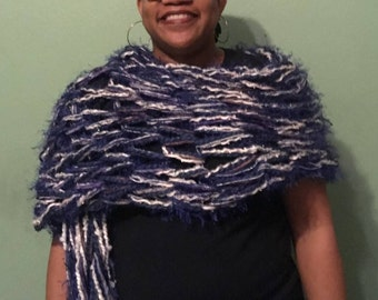 Navy, Silver, and White Arm-Knit Shawl