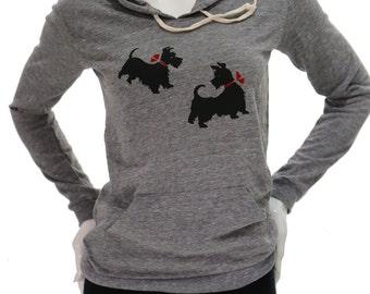 Scottie dog | Lightweight soft pullover hoodie | organic cotton blend | Scottish Terrie