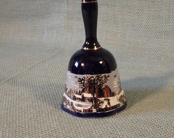 Currier and Ives Bell ~ The Homestead in Winter ~ Cobalt Blue