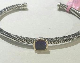 "Vintage David Yurman 925 silver 750 18 karat yellow gold 4mm cable checkerboard garnet cuff bracelet ladies womans 7"""