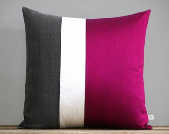 Fuchsia Silk Colorblock Pillow Cover in Cream and Charcoal Gray by JillianReneDecor, Luxury Gift for Her, Hot Pink Magenta (20x20) Holiday