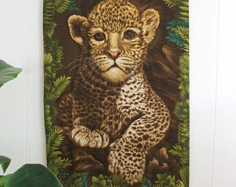 Large Mid Century Tiger Cub Wall Hanging Tapestry Textile
