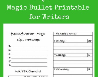 PRINTED May 2018 Organization Tools for Writers | Daily and Weekly Dockets | Monthly Goal Calendar + Writing Log | 30 Writing Prompts