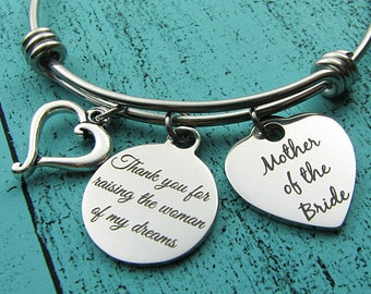 Mother of the bride gift from groom, thank you for raising the woman of my dreams, gift for Mother in law, bride's Mom wedding gift jewelry