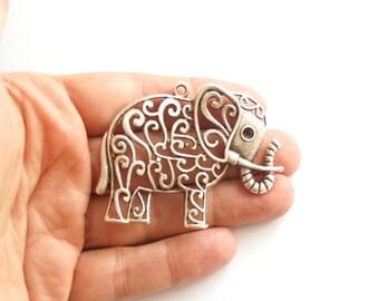 1pc- Matte Oxidized Silver plated Elephant Pendant- 60x50mm-(418-009SP)