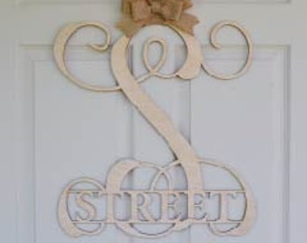 """Wooden monogram -Personalized Letters - Wreath - Wall Hanging- Door Hanging -Can be custom made from 1"""" to 33"""" - Unpainted monogram"""