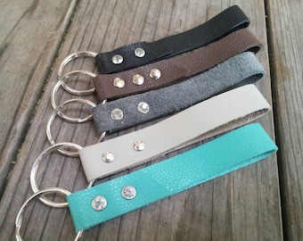 Leather Keychain, Leather Strap Keychain, More Color Available